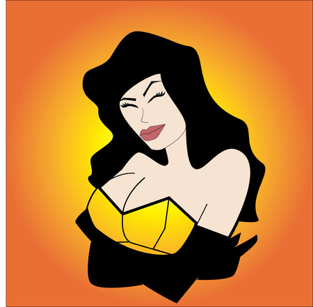 a woman in a yellow corset  Illustration
