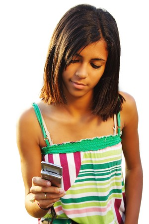 African american teenager girl typing a sms - isolated white.