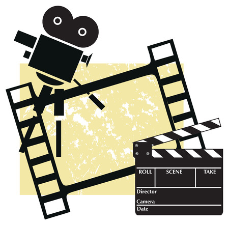 clapboard: Clapboard with a camera and filmstrip
