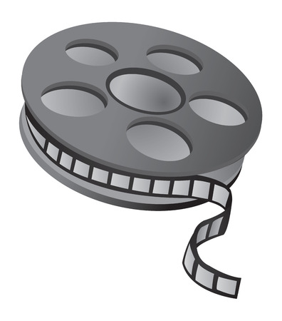 Film reel over white background