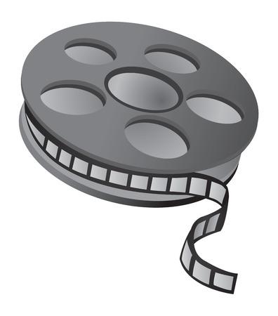 Film reel over white background