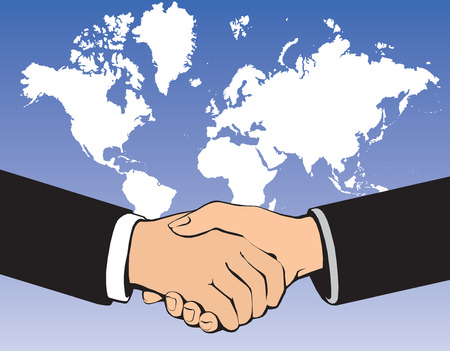 negotiating: Business handshake over world background Illustration