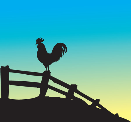 rooster at dawn: Rooster silhouette on fence. Vector illustration