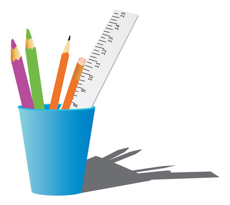 inches: Office or school supplys. Vector illustration