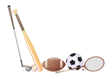 Sport items. Vector illustration available