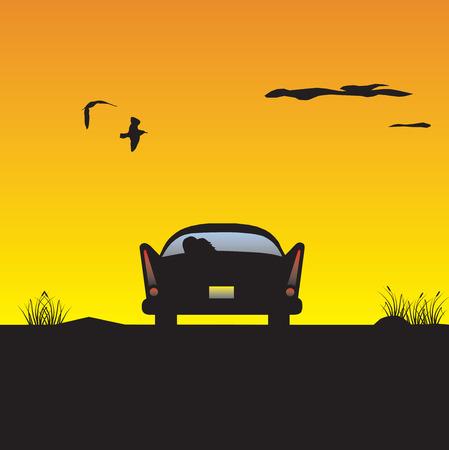 Car at sunset. Vector illustration Illustration