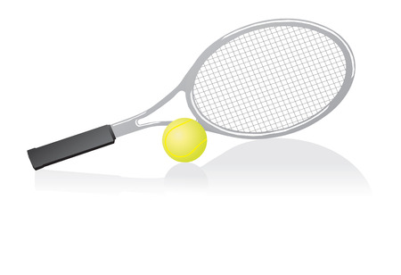 Tennis racket and ball. Vector illustration