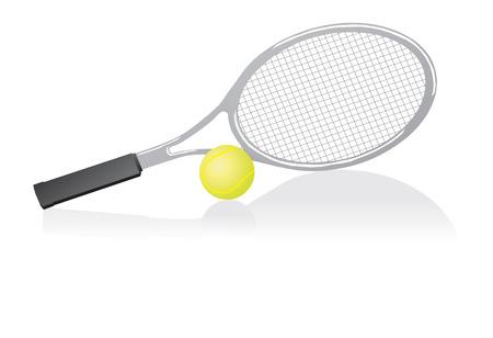 Tennisracket en bal. Vector illustratie  Stock Illustratie