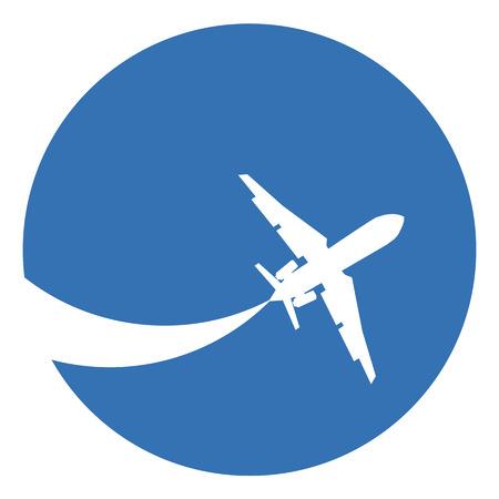 Silhouet van een vliegtuig op een blauwe achtergrond. Vector Illustratie