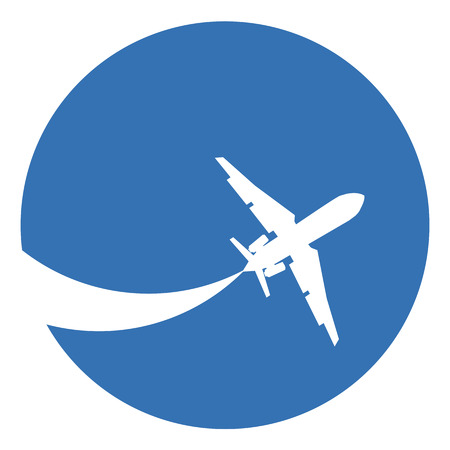 Silhouette of a aeroplane on a blue background. Illustration