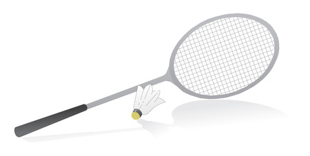 shuttlecock: Badminton racquet with shuttlecock. Vector illustration
