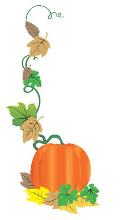 Fall pumpkin and autumn leaves