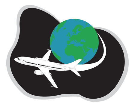 Aeroplane traveling around the globe. Vector illustration Vector