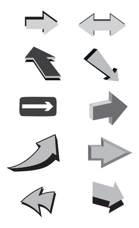 Black and white vector arrows. Vector illustration
