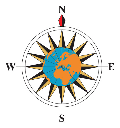Compass with a globe on the middle Vector