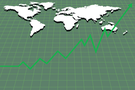 Business chart with world map on background