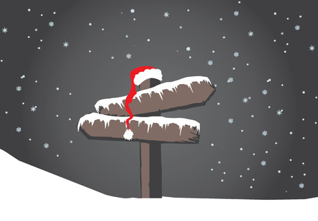 warning indicator: Frozen wood sign with santas hat