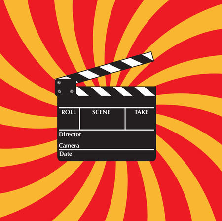 footage: Open clapboard on red beams background.