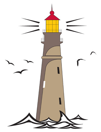 tall ship: Vector illustration of a lighthouse shining. Illustration