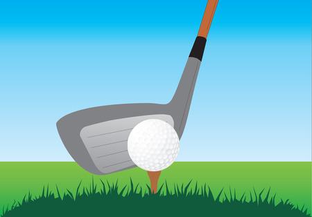 golf stick: Cerca de un palo y la bola de golf