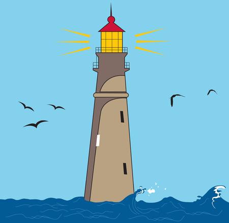 Vector illustration of a lighthouse shining. Illustration