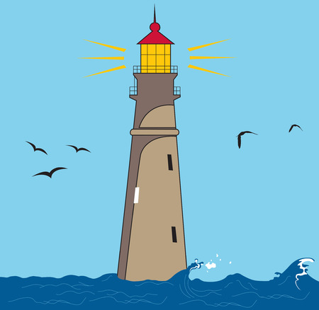 Vector illustration of a lighthouse shining. Vector