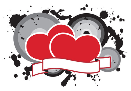 Grounge love hearts background. Vector illustration Stock Vector - 2349181