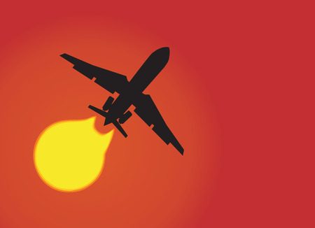 Silhouette of a aeroplane passing sun. Vector illustration