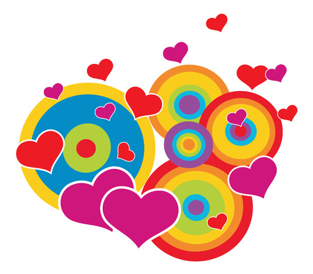 Abstract circles with hearts - Valentines card Vector