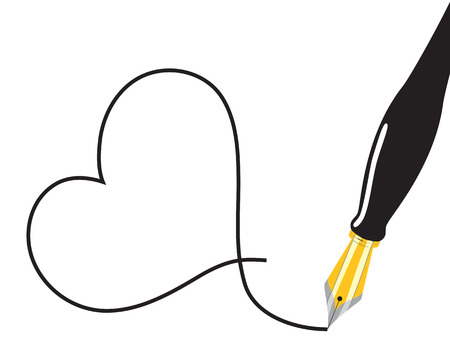 Fountain pen drawing a heart. Vector illustration