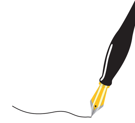 writing instrument: Close up of a fountain pen drawing a line. Vector illustration Illustration