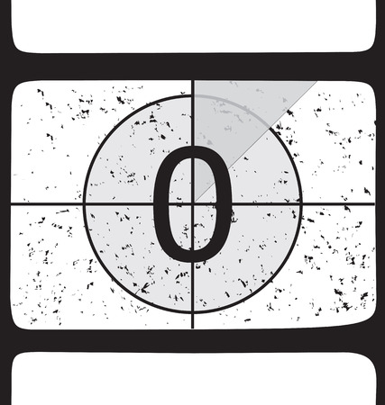 Film countdown at number 0. Vector illustration