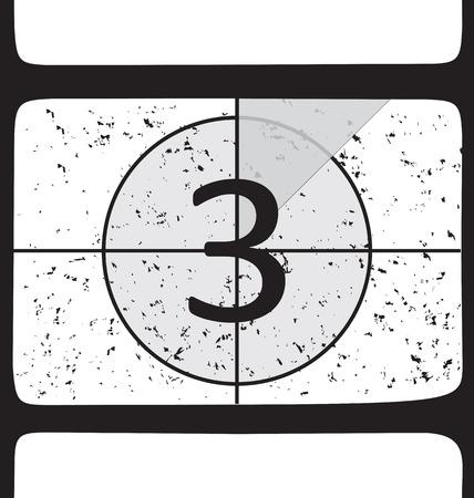 film making: Film countdown at number 3. Vector illustration Illustration