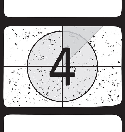 Film countdown at number 4. Vector illustration Illustration