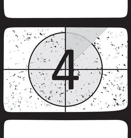 Film countdown at number 4. Vector illustration Illustration