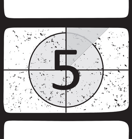 Film countdown at number 5. Vector illustration Illustration
