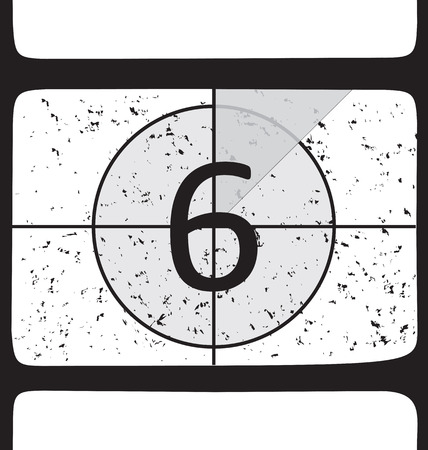 Film countdown at number 6. Vector illustration Vector