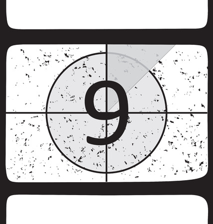 Film countdown at number 9. Vector illustration Vector