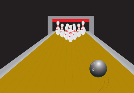 freetime: Bowling ball rolling dow for a strike. Vector illustration Illustration