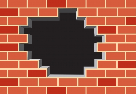 Hole in the brick wall. Vector illustration Vector