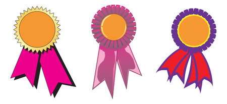 Three diferent award ribbons. Vector Ilustration