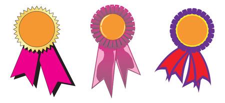Three diferent award ribbons. Vector Ilustration