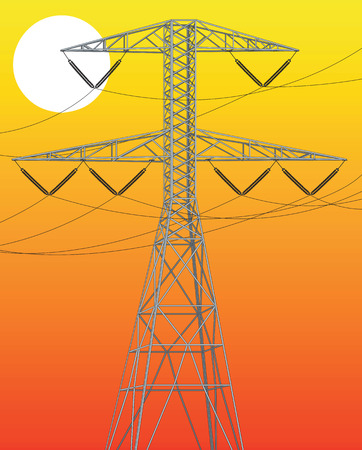 Power line ilustration at sunset. Vector