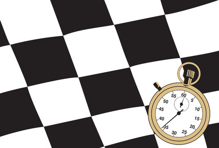 Checkered flag with a stopwatch. Vector illustration Illustration
