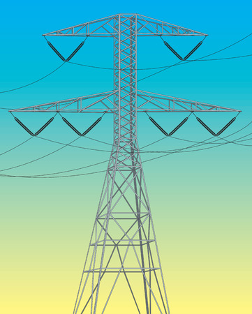 insulators: Electrical power line. Vector illustration