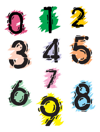Collection of grunge numbers. Stock Vector - 5843308