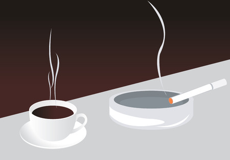 hot coffees: Coffee and cigarette, illustration Illustration