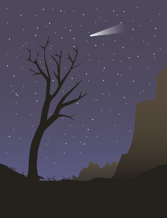 Illustration of a tree under night sky Illustration