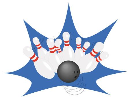 straight pin: Bowling ball and falling bowling pins.