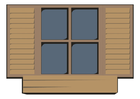 wooden window: Wooden window closed. Vector illustration